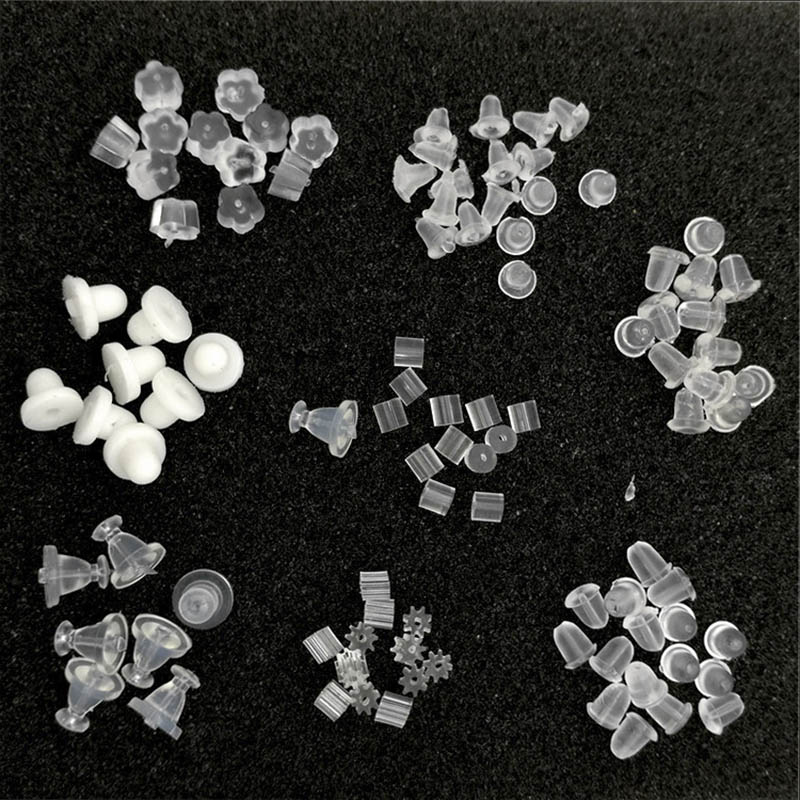 100pcs Silicone Earring Backs Rubber Ear Stoppers Eco-friendly Plastic Ear Backs For DIY Jewelry Making Ear Pin Plug Accessories
