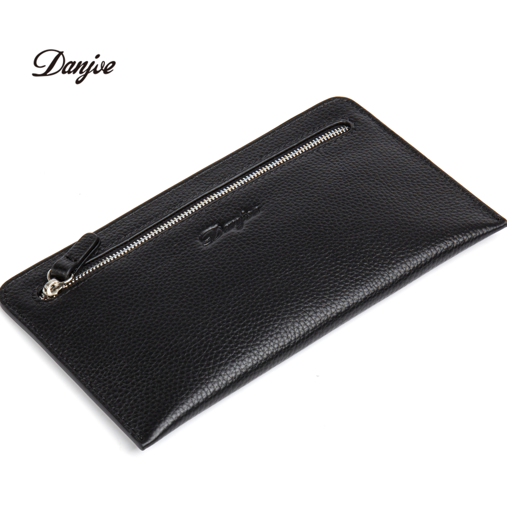 DANJUE Men Wallets 100% Genuine Leather Male Clutch Phone Bag Fashion Brand Coin Pocket Luxury Cowskin Business Handy Bag Purse цена
