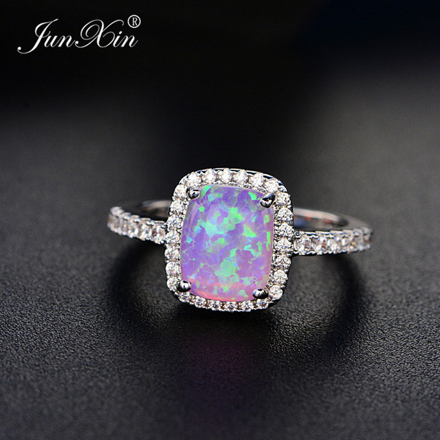 Junxin Simple Male Female Blue White Green Purple Opal Stone Ring Vintage Wedding