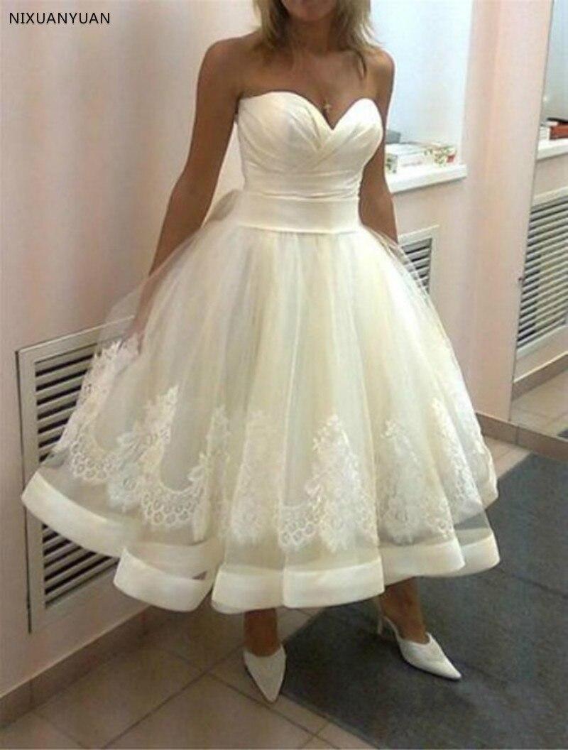 Vestido De Noiva 2020 White Sweetheart Neck Sleeveless A-Line Short Wedding Dress Backless Tea-length Bridal Gown Robe De Mariee