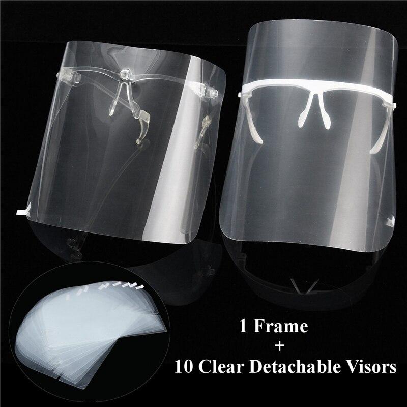 10pcs Full Face Shield Visors + 1 Shelf Adjustable Detachable Dental Protective Mask Kit Anti-Fog Dustproof Replacement Covers