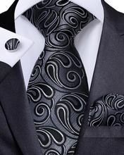 Men Tie Gray Black Paisley Necktie For Designer Set Hanky Cufflinks Fashion DiBanGu Business Wedding Party MJ-7182