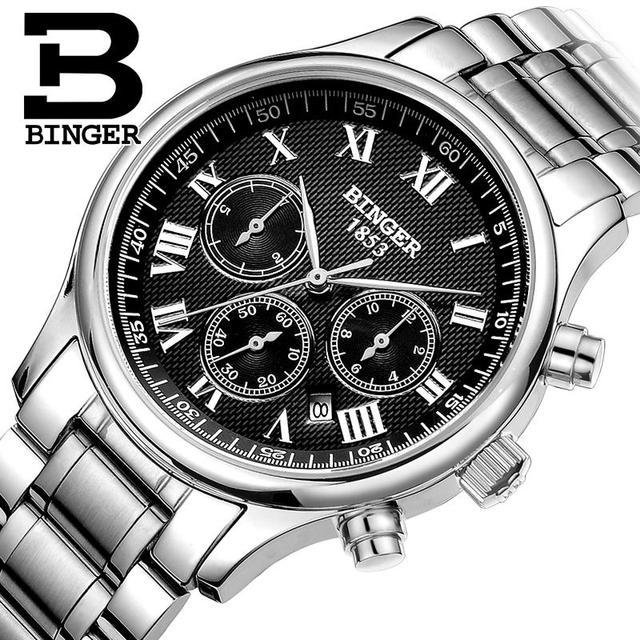Switzerland watches men luxury brand Wristwatches BINGER Mechanical Wristwatches full stainless steel Waterproof B6036-17
