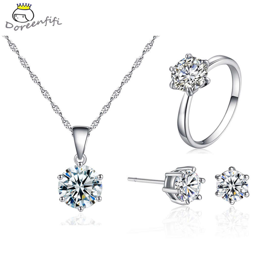 Hot Sale 6m 8m Women Wedding Necklace Pendant Earrings Ring Bridal Jewelry Set 925 Sterling Silver AAA Zircon Crystal Female