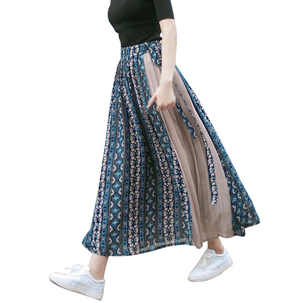 Women Fashion Chiffon Print Patchwork Bandage Wrap Pleated Skirt Long Skirt Chiffon Lace-Up Skirt Harajuku Print W411