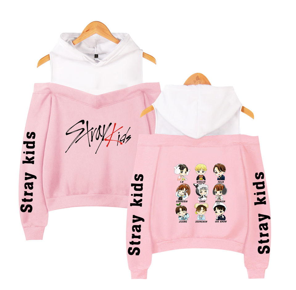 Stray Kids KPOP Off-shoulder Sweatshirt Women Fashion Hip Pop Printed Women Hoodies Highstreet Sweatshirt XS-2XL