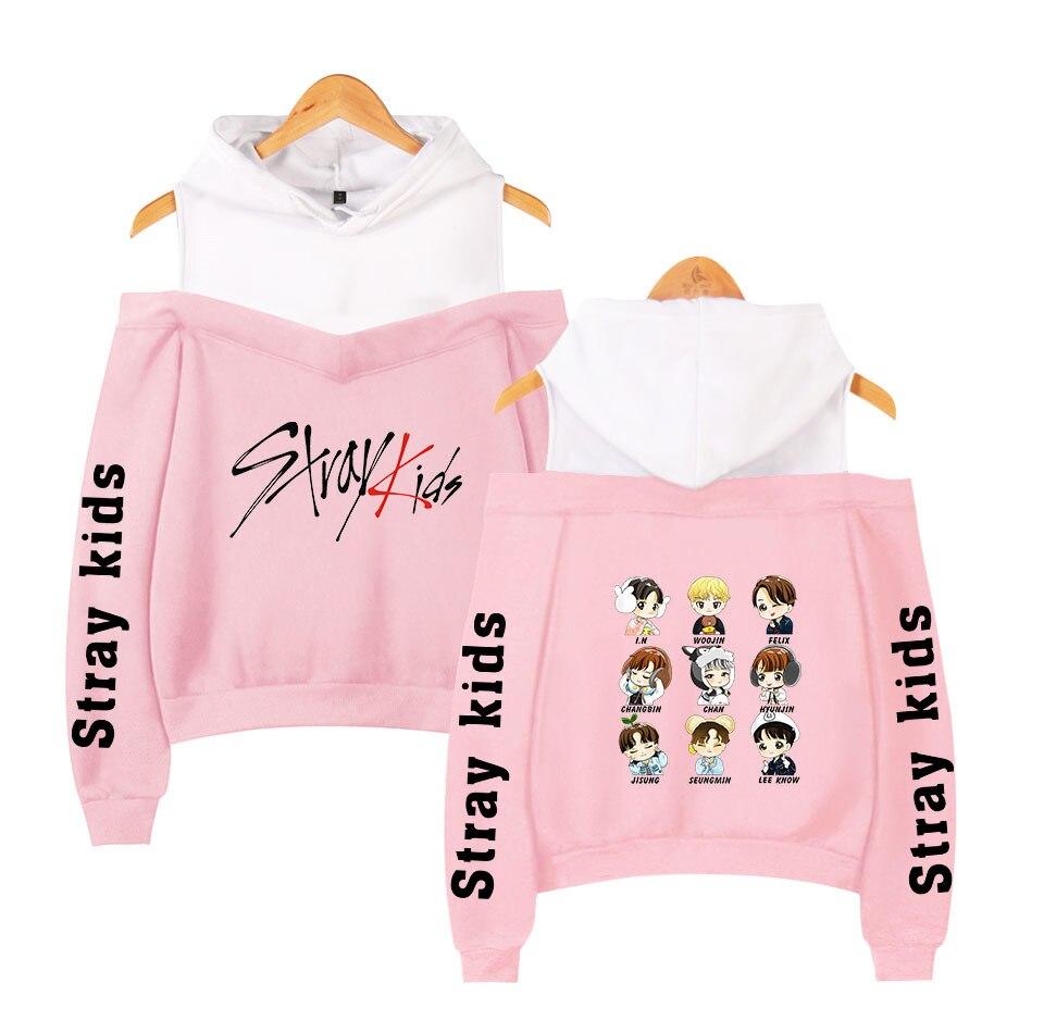 Stray Kids KPOP Off-shoulder Sweatshirt Women Fashion Hip Pop Printed Women Hoodies Highstreet Sweatshirt XS-2XL