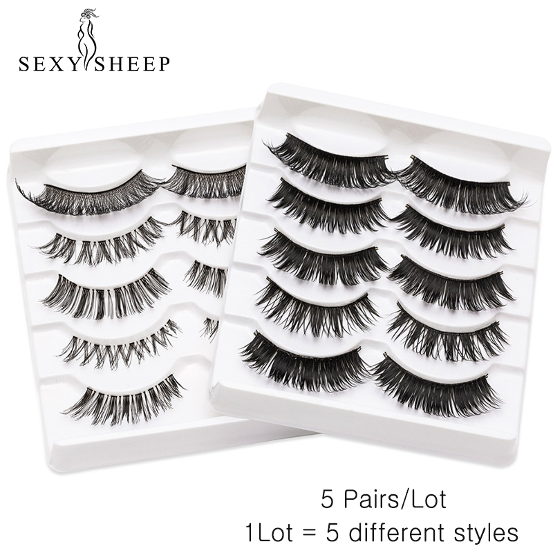 SEXYSHEEP 5 Pairs 3D Faux Mink Fake Eyelashes Natural False Eyelashes Mink Lashes Soft Eyelash Extension Makeup Different Styles