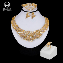 BAUS Dubai jewelry Sets Nigerian wedding Bridal Costume Jewelry Set african beads jewelry set Big Necklace Earrings Sets gift недорого