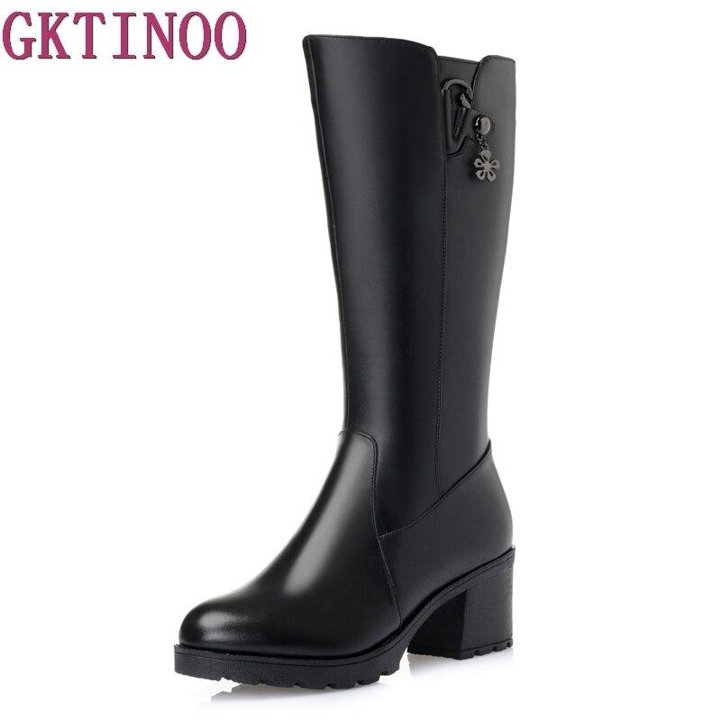 Большой размер 35-43, сапоги до середины икры, круглый носок, высокий каблук, женские сапоги на платформе, высокое качество, натуральная кожа, т...