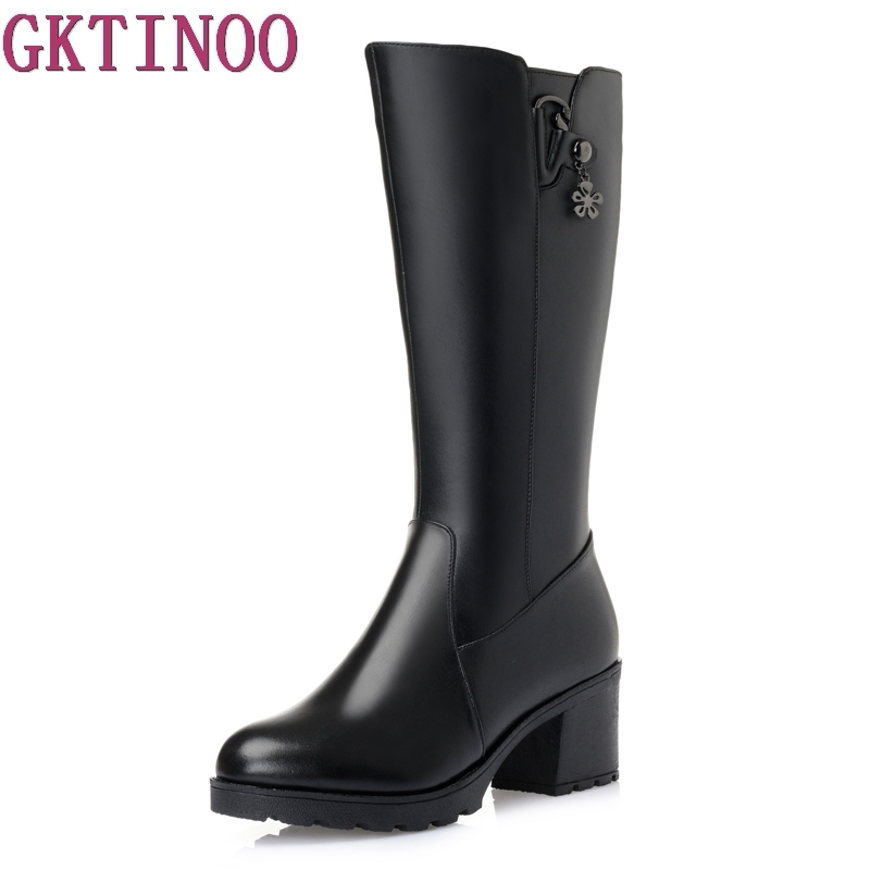 Large size 35-43 mid calf boots round toe high heels platform women boots high quality genuine leather thick winter snow boots