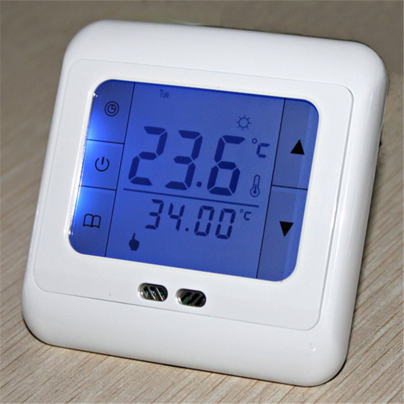 digital floor heating thermostat programmable home thermostat blue touch screen thermostat with. Black Bedroom Furniture Sets. Home Design Ideas