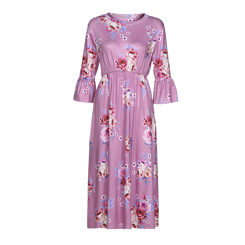 Women Summer DressMomMe Baby Lady Women Floral Print Match Mother Family Dress Sundress Clothes Vestido Verano 2018 Mujer