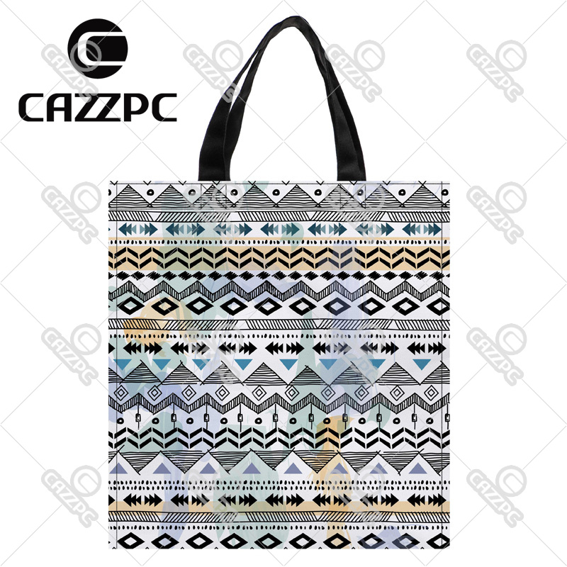 Black and White Ripple Aztec Tribal Ethnic Print Custom Oxford Nylon Fabric Shopping Storage Grocery bag Pack of 2