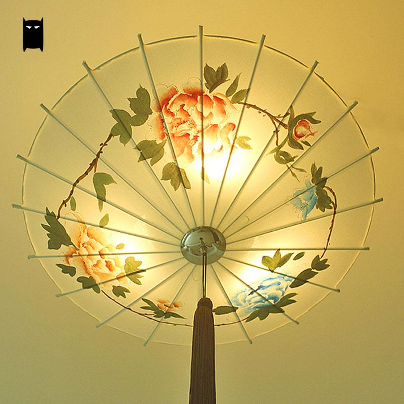Hand Painted Customized Iron Fabric Umbrella Shade Pendant Light Fixture Chinese Style Art Decoration Hanging Lamp Restaurant