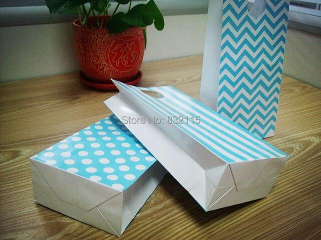 10 STÜCKE Kraft Baby Blue Papier Kleines Geschenk Taschen Sandwich ...