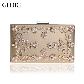 Fashion New Women Evening Clutch Bags PU Chain Shoulder Handbags Leaf Metal Beaded Evening Purse Messenger Bags