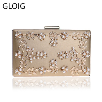 Fashion New Women Evening Clutch Bags PU Chain Shoulder Handbags Leaf Metal Beaded Evening Purse Messenger Bags lace wedding women handbags diamonds metal day clutches purse evening bags messenger chain shoulder handbags