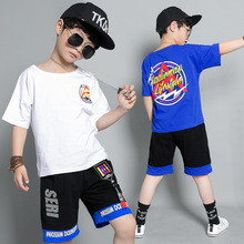 Boys summer suit  cotton short-sleeved round neck printed art letter T-shirt elastic belt sports shorts fashion cool