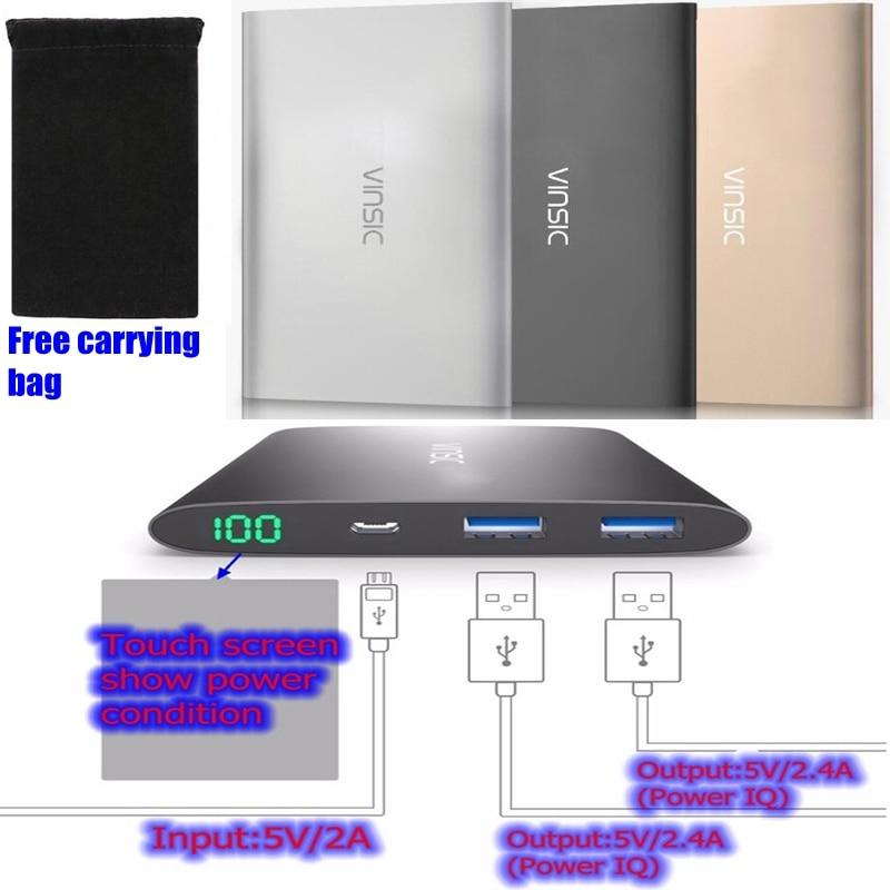 imágenes para Voltiq Vinsic 12000 mah Banco de la Energía 12000 mah Powerbank 2 Puertos 5 V 4A para Xiaomi iPhone Huawei Samsung Tablet Cargador portátil