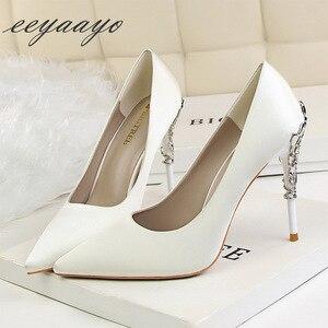 Image 3 - Sapato feminino de salto alto fino ponta fina, sapato sensual de casamento para mulheres, branco, primavera/outono, 2019 saltos altos