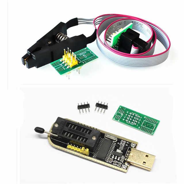 SOIC8 SOP8 اختبار كليب ل EEPROM 93CXX/25CXX/24CXX + CH341A 24 25 سلسلة EEPROM فلاش بيوس USB مبرمج وحدة