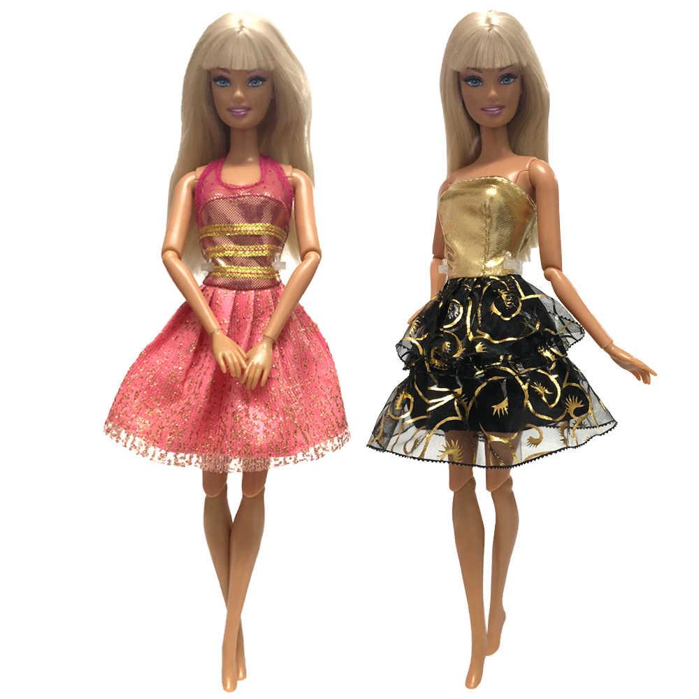 NK 2020 Terbaru Dua Set Doll Top Fashion Gaya Rok Mulia dan Indah Berwarna-warni Pakaian untuk Boneka Barbie Aksesoris Terbaik hadiah