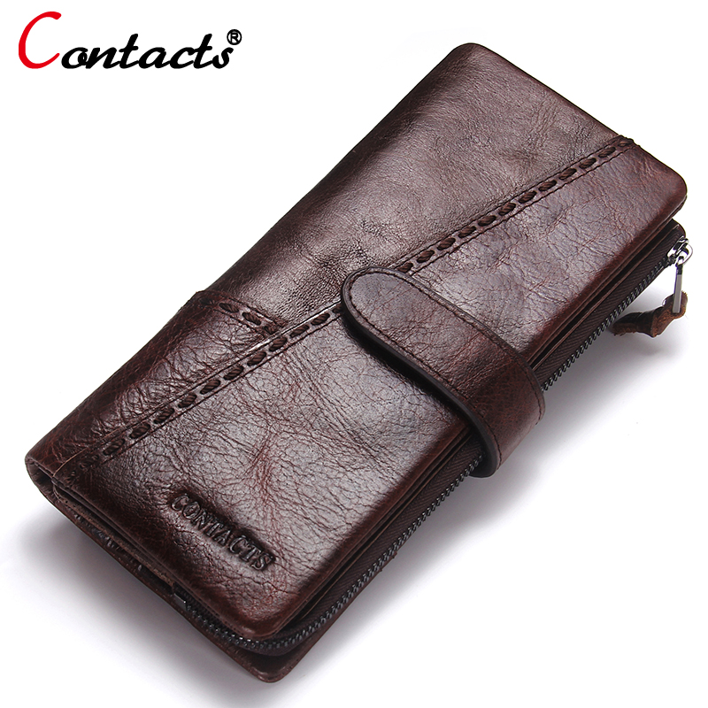цена на CONTACT'S Men Wallet Genuine Leather wallet male clutch Luxury Brand coin Purse card holder Handbags Men Wallets money bag New