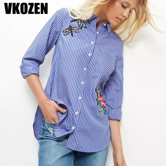 be9ee870964e Women Dragonfly Flowers Patch Designs Embroidery Striped Blouse Single  Pockets Long Sleeve Shirt Casual Tops YN-4500