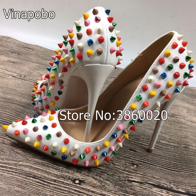 Aliexpress.com   Buy Brand Multi Colored Heels Shoes Pointed Toe ... e39f634a1d12