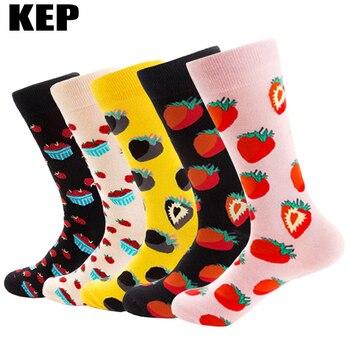 Brand Korean Harajuku Novelty Personality Strawberry Fruit Cotton Women Socks Funny Happy Socks Autumn Winter Street Style Sox