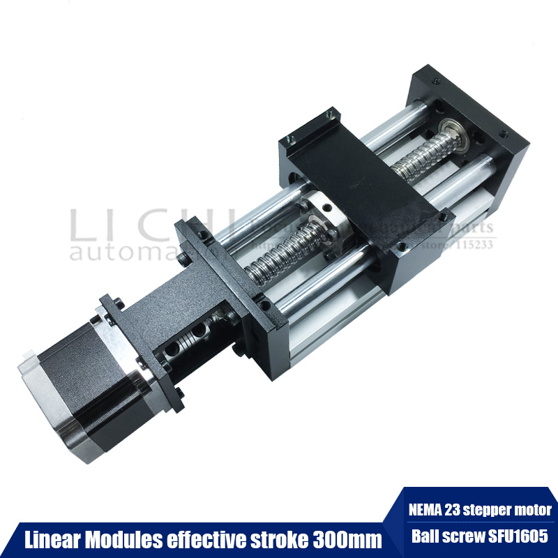 Free Shipping High Precision NEMA 23 stepper motor neam Linear Modules effective stroke 300mm Ball screw SFU1605 linear bearing toothed belt drive motorized stepper motor precision guide rail manufacturer guideway