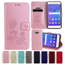Leather Case For Huawei Y3 2017 Cases Y5 Lite Wallet Cover Flower Design Phone for