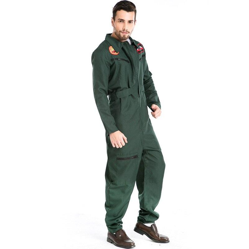 Nouveauté vert pilote COS Costume Halloween adulte US Air Force pilote scène jeu uniforme vêtements L18910112