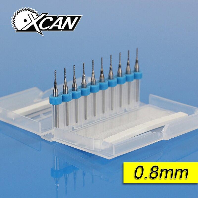 10 piezas 0,8mm 0,9mm 1,0mm PCB herramientas de carburo, brocas de corte CNC, fresas Kit para la máquina de fresado de grabado