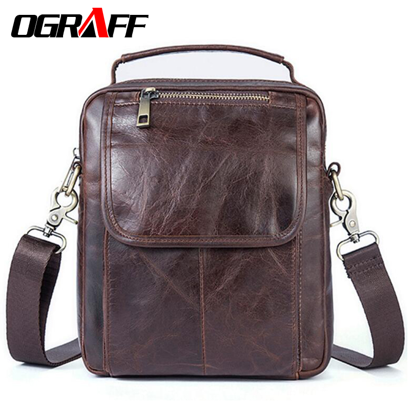 OGRAFF Men's bag handbag genuine leather bag men shoulder bags designer handbags high quality messenger bag men leather travel ograff bag men genuine leather men messenger bags handbags famous brand designer briefcases leather crossbody bags men handbag
