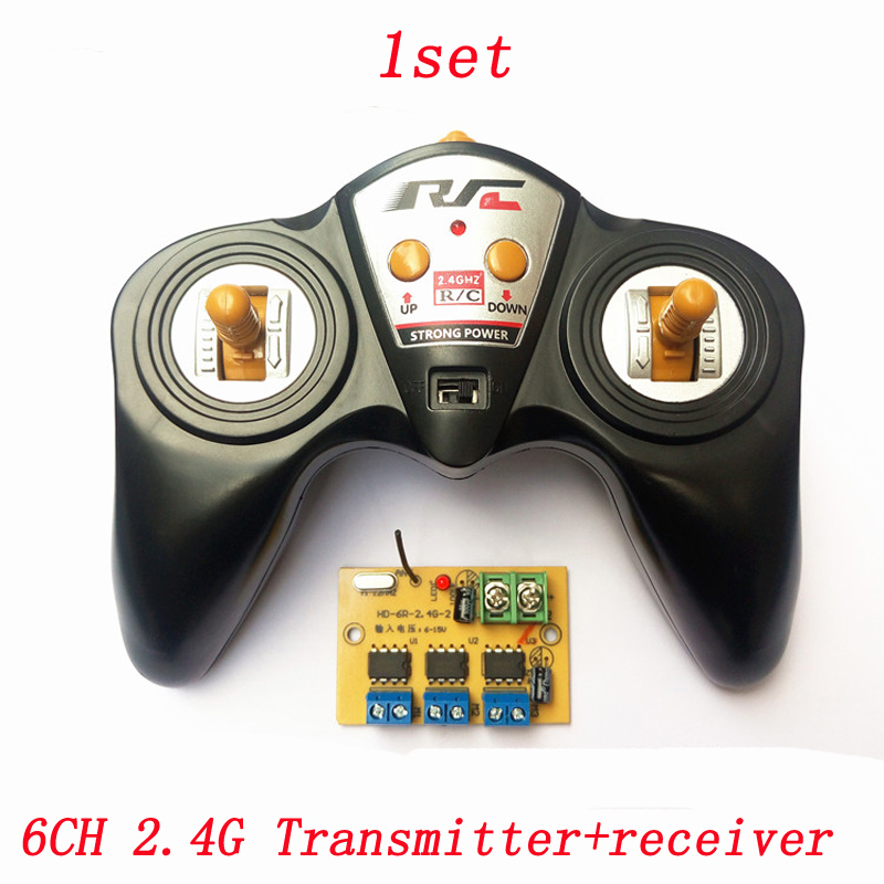 6CH 2.4G Remote Controller DC 6V-15V Large Power Transmitter Receiver Radio System For DIY RC Boat Cars 50M Wireless Controlling