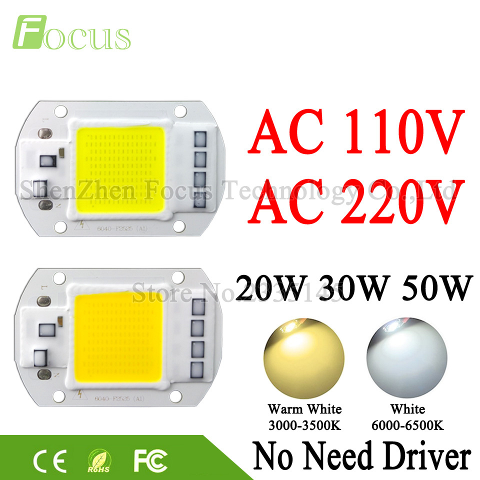 LED COB Lamp Chip 20W 30W 50W 220V 110V Input Cold White Warm White Smart IC Driver For DIY 20 30 50 W Watt Floodlight Spotlight led cob lamp chip 5w 20w 30w 50w led chips 220v input smart ic driver fit for diy led floodlight spotlight cold white warm white