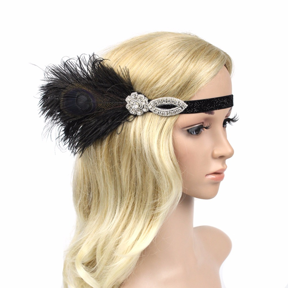 1920s Flapper Gatsby Party Peacock Feather Headband 20s Sequined Diamond Showgirl Headpiece 100% Handmade Hair Band headpiece