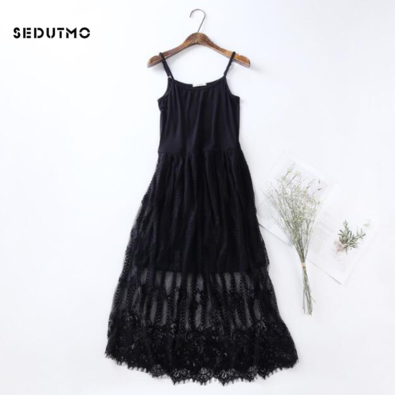 76b13d5b748 SEDUTMO Spring Gauze Lace Dress Women Tunic Long Spaghetti Strap Dresses  Basic Sundress Summer Beach Mesh Sexy Party Dress ED128