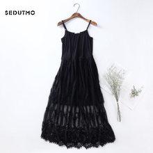 SEDUTMO Spring Gauze Lace Dress Women Tunic Long Spaghetti Strap Dresses  Basic Sundress Summer Beach Mesh Sexy Party Dress ED128 3caecad9674b