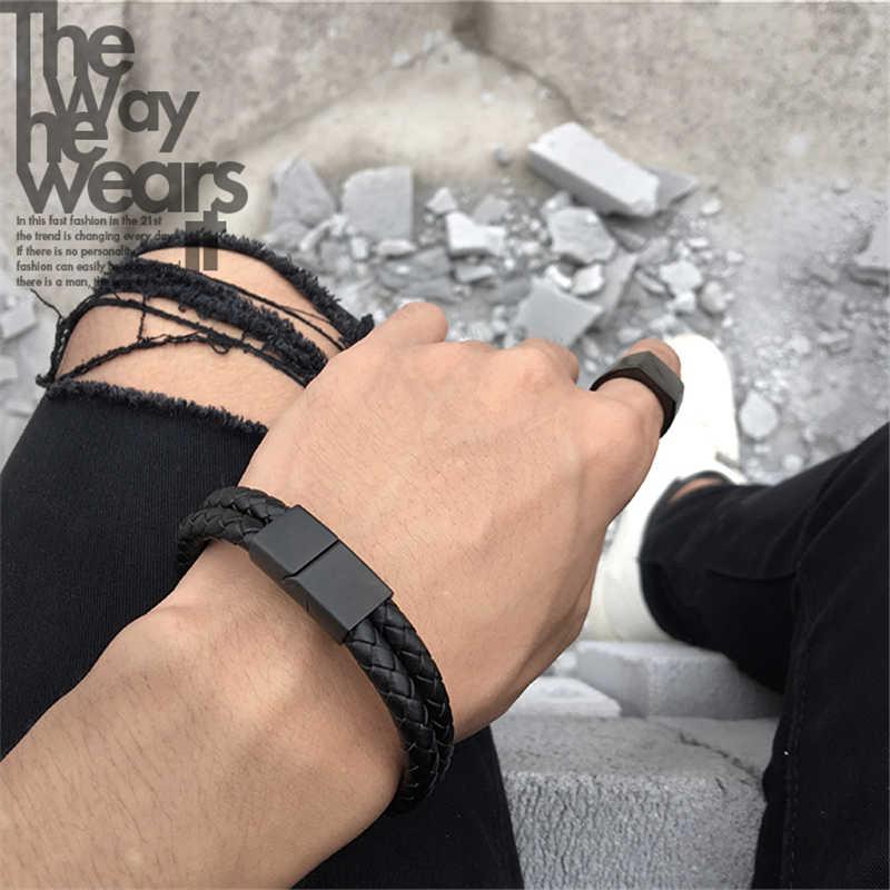 Cổ điển Màu Đen Hai Lớp Braided Genuine Leather Vòng Tay Người Đàn Ông Thép Không Gỉ Matte Buckle Clasp Bangles Mở Vòng Tay Phụ Nữ
