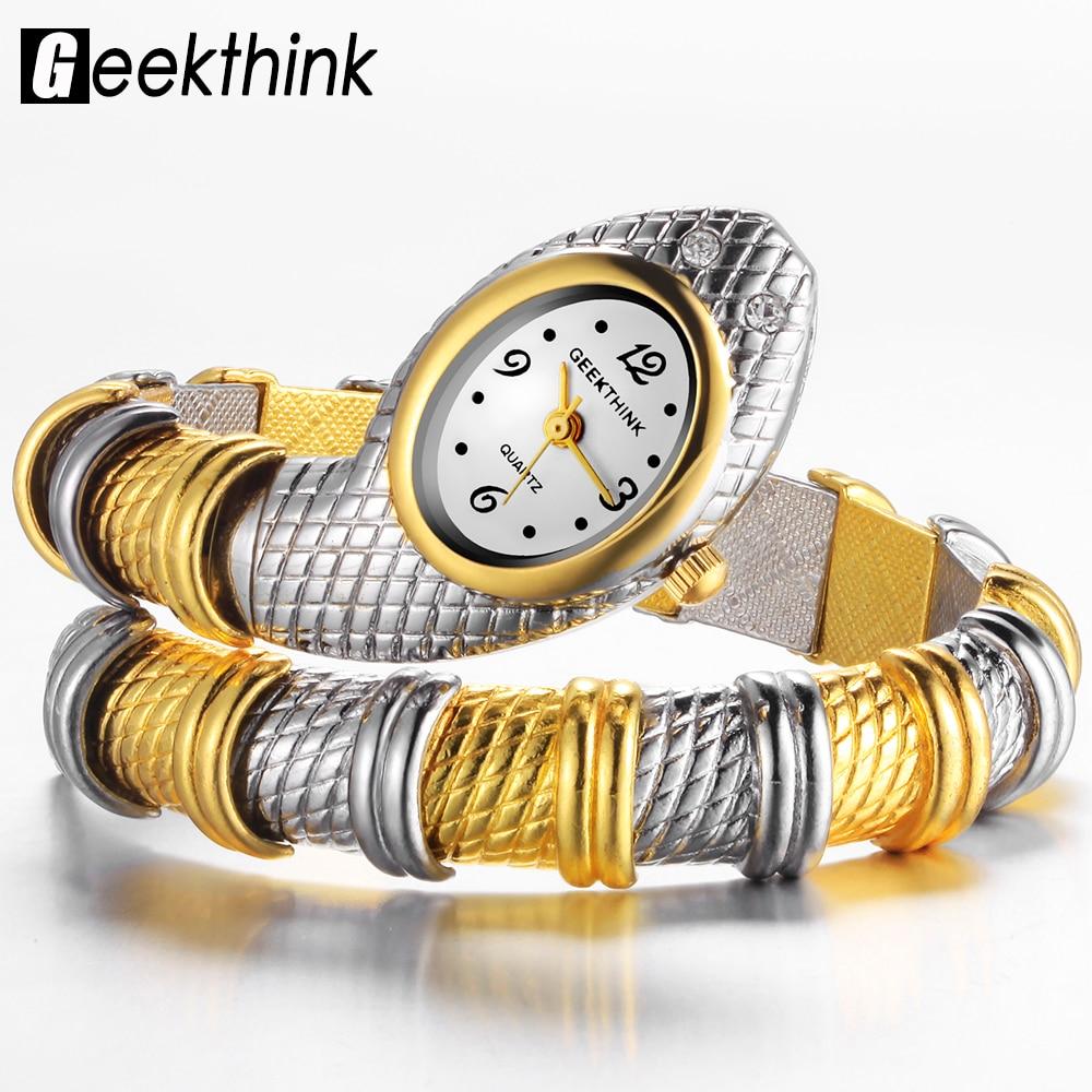 GEEKTHINK Unique Fashion Brand Quartz Watch Bracelet Women Ladies Snake Dress Watch Bangle Diamond Ornaments Luxury Silver Gold brand unique толстовка