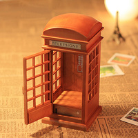 Vintage Wooden Red Telephone Booth Music Box Gifts For Girls Creative Gifts Home Decor