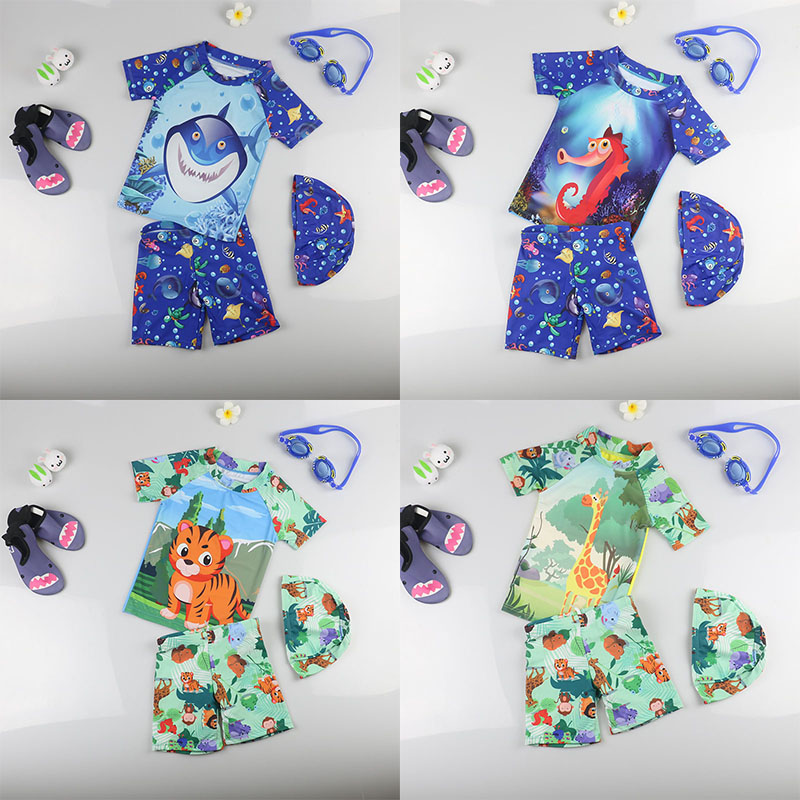 kids Baby Swimwear,childrens clothing,Quick Drying,Small medium large boys Swimming Suit,(Tops+Pants+Hat)*1,Animal Pattern Style
