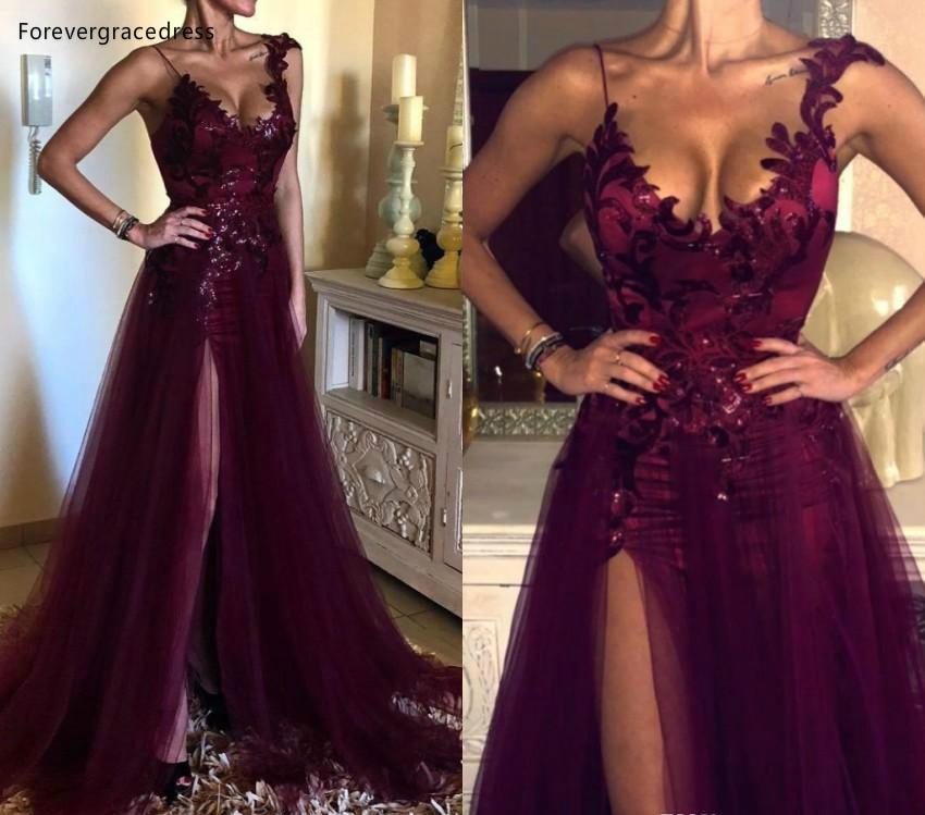 Elegantes Vestidos De Noche De Color Púrpura De Uva Una Línea Dividida Formal Para Mujer Vestidos De Fiesta Celebridad De Talla Grande Por Encargo