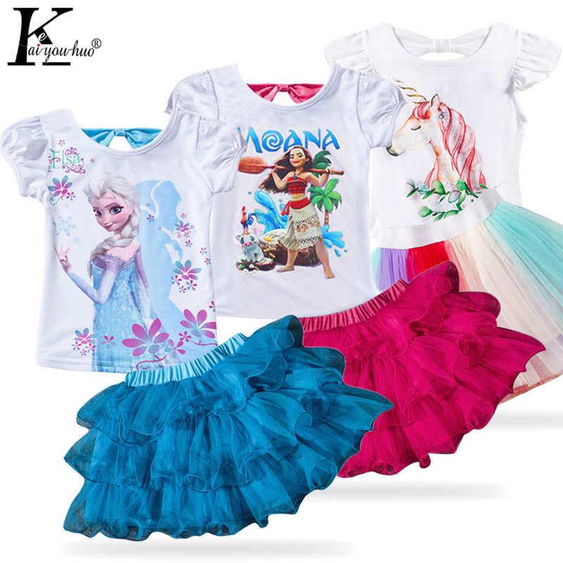 Children Clothing 2019 Summer Toddler Girl Clothes Unicorn MOANA Kids Clothes Tracksuit For Girls Clothing Sets