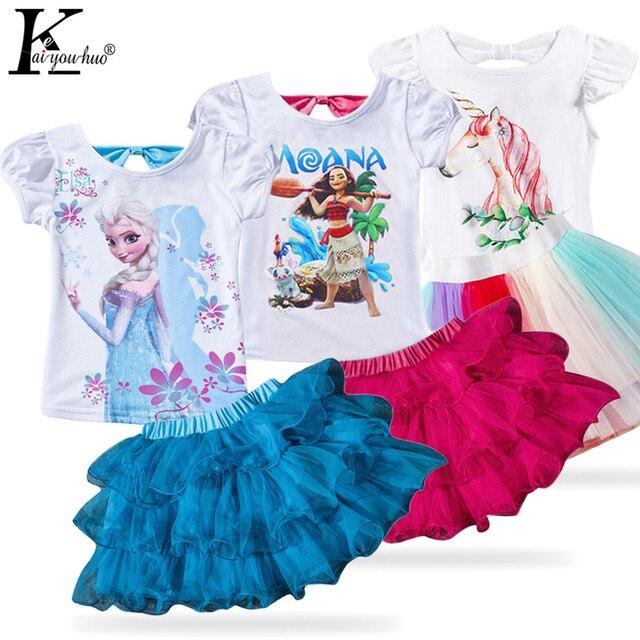 Ropa de niños 2019 verano ropa de niña pequeña unicornio MOANA ropa de niños chándal para niñas conjuntos de ropa 3 4 5 6 7 8 año