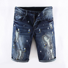 купить Summer Fashion Mens Jeans Shorts Dark Blue Color Korean Punk Style Embroidery Ripped Short Jeans Men Elastic Denim Shorts по цене 1629.43 рублей