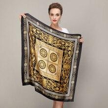 Черное золото площадь Шарфы для женщин 2015 Модные женские чистый Шелковый шарф, шаль осень-зима 100% шелк тутового женский Шарфы для женщин 90*90 см